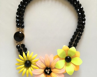 Unique Vintage Black Glass and 1950's Floral Metal Brooch Assemblage Statement Necklace