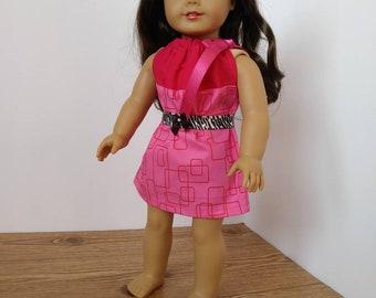 18 Inch Doll Drawstring Pillowcase Dress-Pink Squares