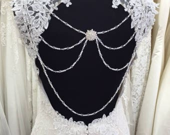 Diamante Back Jewellery, Bridal Gown Detailing. Backless Wedding Dress