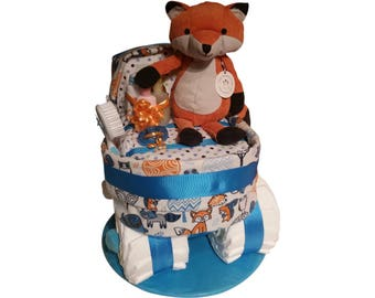 Fox Diaper Bassinet, Woodland Theme Centerpiece, Neutral Baby Diaper Cake Shower Gift