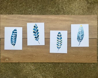 Watercolor feather notecards