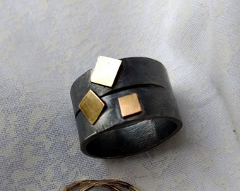 Distressed, Big Band, 14/20 Gold Accents, Oxidized, Argentium,