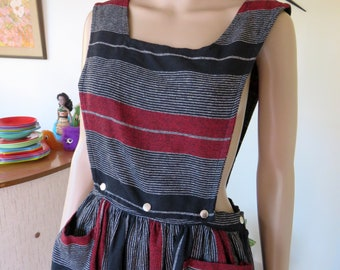 Vintage 80's stripey wool and polyester dress - can unbutton top half to make it a skirt - Made in Australia - red black white grey