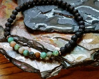 Faceted African Turquoise 4mm Diffuser Bracelet with Lava Beads