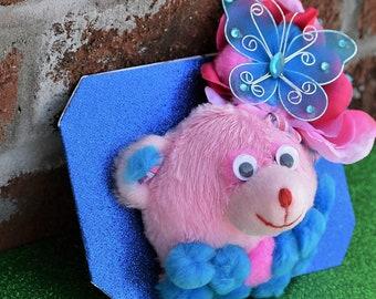 new baby card, bear thank you, pink bear toy, girl birthday card, girl birthday gift, pink, teddy bear card, pop up bear, handmade 3D card