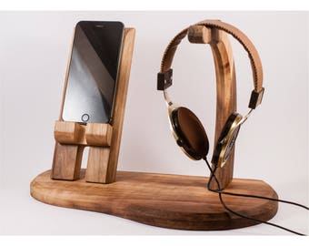 Headphone and smartphone stand/holder/docking station