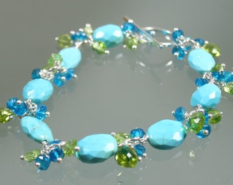 FINAL SALE * 50% off * SALE *  bracelet- sleeping beauty turquoise - apatite - peridot - sterling silver