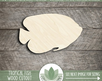 Tropical Fish Wood Cutout, Unfinished Wood Fish Laser Cut Shape, DIY Craft Supply, Many Size Options, Blank Wood Shapes
