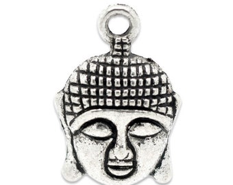10 pcs. Antique Silver Tone Buddha Face Charms Pendants - 22mm x 15mm