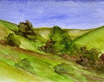 California Landscape Watercolor Painting Santa Anna Hills Marin County Original California Plein Air Painting Art by Kathleen Daughan