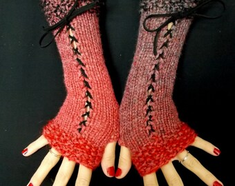 Fingerless Gloves Corset Wrist Warmers in Red Grey Shades with Black Suede Ribbons Victorian Style