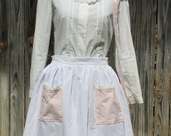 Apron and Bonnet Set Peach/Turquoise Floral sewn by Laura Ingalls Gunn