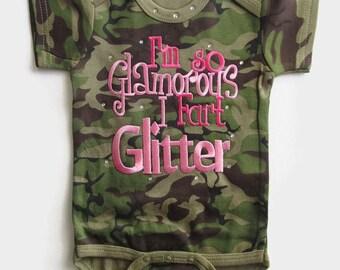 I'm So Glamorous I fart Glitter Camo Bodsuit neborn baby girl, baby shower gift, camo onesie, newborn baby girl,