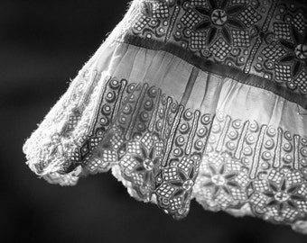 Black and White Photography - Vintage Embroidery Print - Antique Cuff Art - Macro Photograph - Victorian Decor