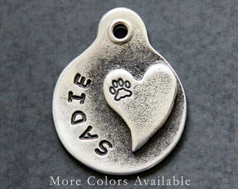 Wedding Dog Collar Tag - Heart - Pet ID Tags - Dog Tags - Pet Tag - Dog ID Tags - Custom Dog Tag - Hand Stamped