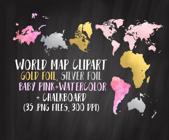 World map clipart gold map clipart continents clipart gold world map clipart gold map clipart continents clipart gold silver pink chalk 35 png files commercial use world map clip art gumiabroncs Choice Image