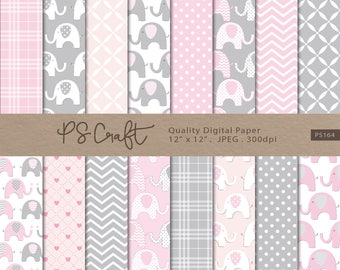 """Elephant Digital Papers, SEAMLESS """"Baby Pink & Gray"""" Elephant Background, Baby Girls Shower Paper Pack, Pink Invitation"""