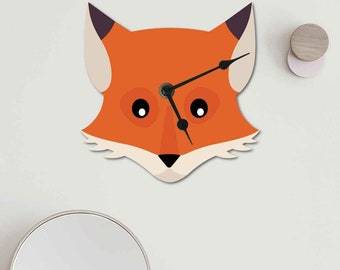 Cute Fox Clock to brighten up your kitchen, Mr Fox Wall clock  , 2 Sizes available