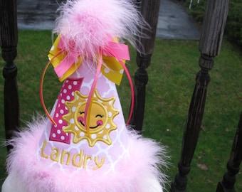 you are my sunshine birthday,  birthday hat,  smash hat,  1st birthday hat,  party hat, 2nd birthday, sunshine birthday, pink party hat