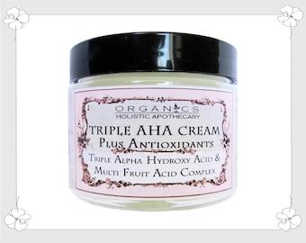 ORGANIC Natural Triple Alpha Hydroxy Acid & Multi - Fruit Acids Complex Face Cream Plus Antioxidants