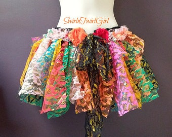 ADULT FESTIVAL TUTU, rainbow tutu, fairy pixie tutu, festival clothing, burning man skirt, green black orange blue, rave tutu, dance costume