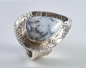 Agate Silver Ring. Agate Ring. Designer Ring. Artisan Ring. 925 Silver Ring. Gemstone Ring. Bohemian Ring. Ladies Ring. Women Ring