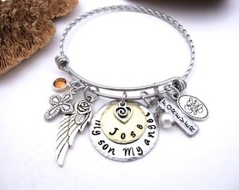 Son Memorial Jewelry, Son Memorial Bracelet, My Son My Angel, Son Bereavement, Loss of Son, Son Loss