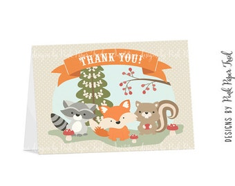 Woodland Animals Thank You Card, Instant Download, Print Your Own
