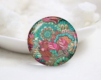 Handmade Round Floral Photo Glass Cabochons (P3737)
