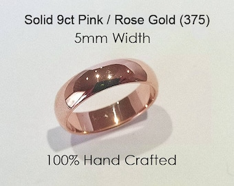 9ct 375 Solid Pink/Rose Gold Ring Wedding Engagement Friendship Friend Half Round Band 5mm