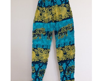 Thai harem pants Yellow-Green - Lapin.DIY