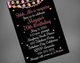 70th Birthday Invitation, 80th Birthday Invitation, Pink and Gold 70th Invitation
