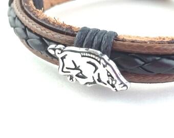 Arkansas Razorback Bracelet Razorback Gift For Men Women Razorback Jewelry NCAA Football University of Arkansas Fayetteville Handmade