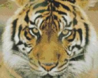 Large Sumatran Tiger,  Beaded Tapestry Pattern