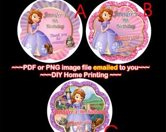 Sofia Thank you, Sofia the First, Sofia Gift Tag, Princess Sofia Party, Sofia Favor Tags, Sofia Bag Tags, Cupcake Toppers - BIRTH35