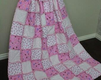 Ballerina Twin, Ballerina Bedding, Pink Twin Blanket, Rag Quilt, Ballerina Decor, Girl Twin Quilt, Girl Rag Quilt, Pink Decor, Ready To Ship