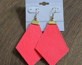 Naked Phoenix Leather Earrings - Neon Coral