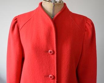 20% OFF SALE   1950s Red Wool Coat   Vintage Long Winter Jacket   50 Fashion