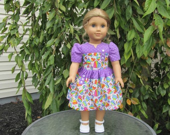 Party dress Purple with rainbows for dolls like American Girl