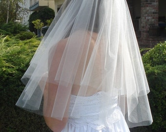 Elbow Length Two-Tier Raw Edge Circular Cut Veil in Ivory or White - READY TO SHIP in 3-5 Days