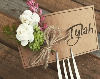 Faux table seating fork cards