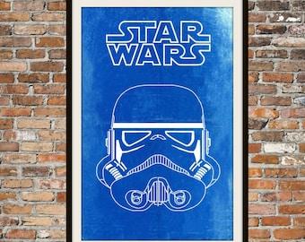 Star Wars Stormtrooper -  Blueprint Art of Stormtrooper Forward View Technical Drawings Engineering Drawings Patent Blue Print Art Item 0098