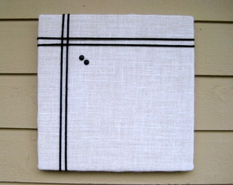 Bulletin Board White burlap with an accent of black macrame cord, memo board for your office, bedroom or kitchen