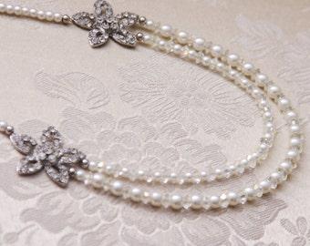 Wedding Necklace Swarovski Necklace Wedding Jewelry Bridal Jewelry Wedding Accessory Bridal Necklace Pearl Necklace Swarovsky Pearl