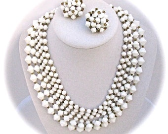 Vintage Demi Parure Japan SIX Strand Milk Glass BICONE Beaded CHOKER Necklace Clip On Earring Set