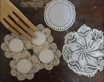 6 pcs vintage lace doilies doily cotton embroidery knit crochet