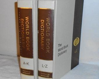 1976 World Book Encyclopedia 2 Vol Dictionary Set w Tan / Brown Covers