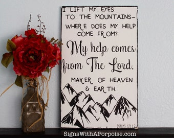 I Lift My Eyes to the Mountains, Chalkboard Style Distressed Wood Sign, Typography Art, Wooden Sign, Jesus, Inspirational Christian Sign