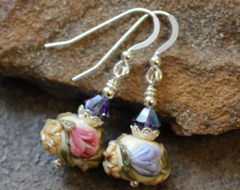 Floral Art Glass Earrings - Sterling Silver and Swarovski - Lampwork Earrings - Floral Earrings - Artisan - Handcrafted - Spring - Summer