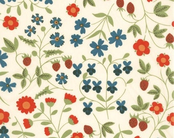 """Mirabelle B Liberty Fabric tana lawn 10"""" x 10"""" square (25,4 cm x 25,4 cm) blue red green white The Weavers Mill"""